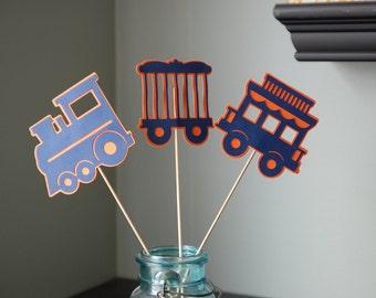Train Centerpieces, Train Birthday Party, Train Baby Shower, Train Theme, 9 Pcs, Navy Blue/Orange