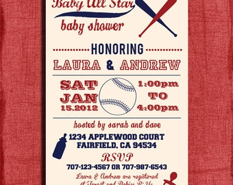 Printable Baby Shower Baseball Themed 4x6 or 5x7 Invitation-DIY