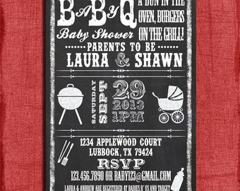 Printable Baby Q BBQ Baby Shower Chalkboard Style 4x6 or 5x7 Invitation-DIY