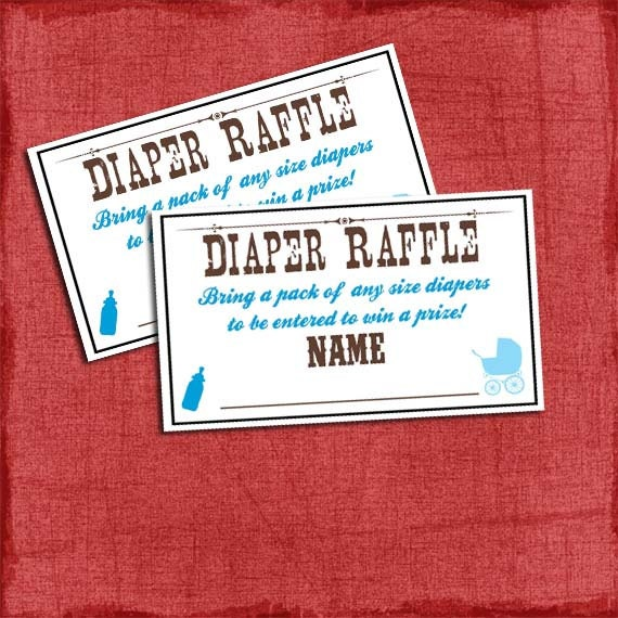 ... Baby Q Shower Diaper Raffle Tickets, Matches Baby Q Shower Invite -DIY