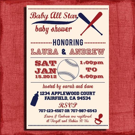 printable baby shower baseball themed 4x6 or 5x7
