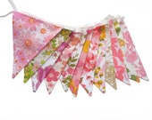 Vintage Bunting - Retro Pink / Orange, Floral Flags. Shabby Chic, Party Decoration  HANDMADE  Birthday Parties, Garden Tea Party, Wedding