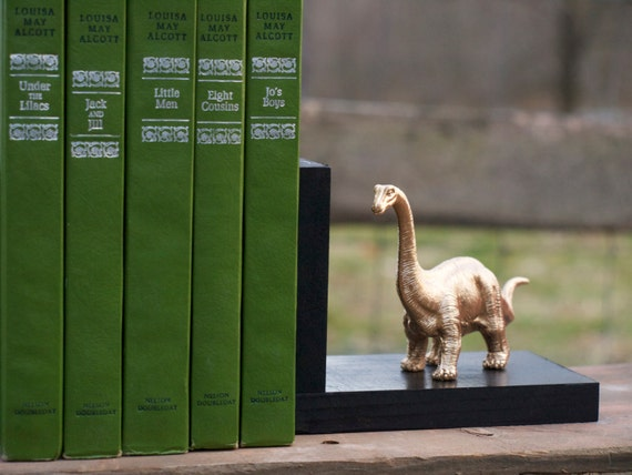 Set of Black Wooden Bookends with Golden Brontosaurus Dinosaur