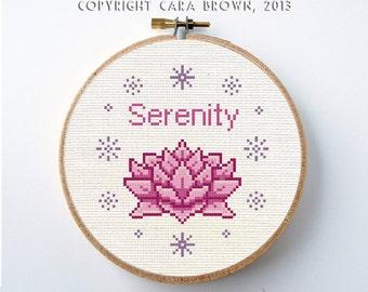 Lotus Flower Cross Stitch Pattern Instant Download PDF Digital Needlepoint Serenity Gift