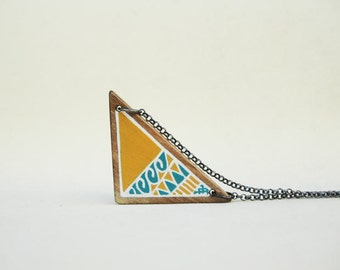Geometric Necklace Jewelry Triangle Necklace Wood Necklace Yellow Blue Necklace 2 in 1