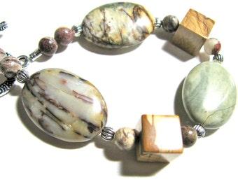 Earthy bracelet, Ocean Jasper, Picture Jasper, Red Silver Leaf Jasper, beaded bracelet, gemstones 072