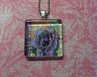 Purple Flower Glass Pendant