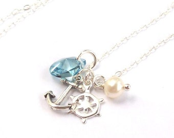 Tropical Necklace, Anchor Necklace, sterling silver necklace, nautical necklace, ships wheel, blue, pearl, spring fashion, Valentines