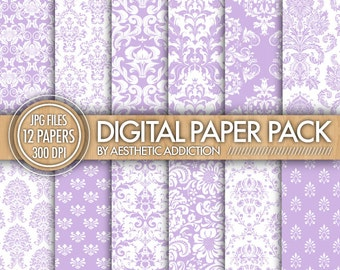 Purple Damask Paper Pack - 12 Printable Digital Scrapbooking Papers - 12 x 12 - 300 DPI - Commercial Use - 12480