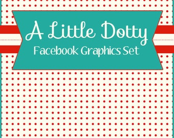 """Facebook Timeline Cover and Avatar """"A Little Dotty"""" Cute Red and Aqua Polka Dot Design"""