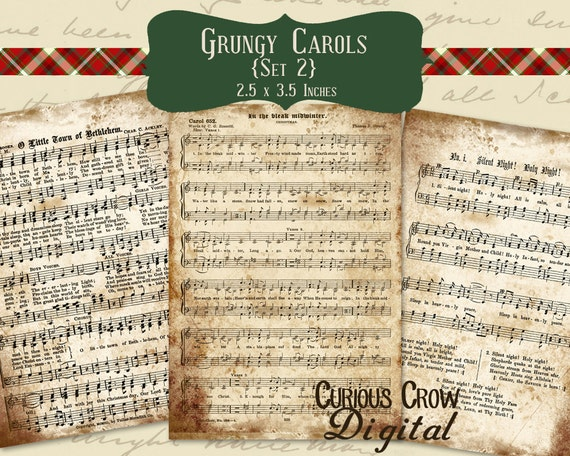 Grungy Christmas Music Digital Collage Sheet  (Set 2) - ACEO ATC 2.5 x 3.5 -  INSTANT Printable Download