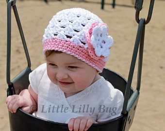 Crocheted Baby Beanie Hat in White and Pink with Flower, Cotton Baby Hat, Size Newborn to Toddler, Crochet Baby Girl Hat, Made to Order