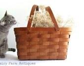 Vintage Basket Wood Handles Splint Weave Picnic Basket Handmade Handwoven Rustic Basket Farmhouse  Storage
