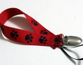 Red Paw Ribbon Pacifier Clip Pacifier Holder