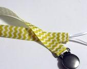 Pacifier Holder Yellow Chevron Grosgrain  Ribbon Pacifier Clip