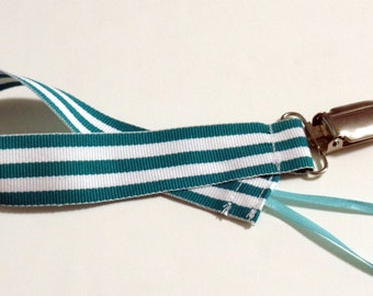 Teal Stripes Ribbon Pacifier Clip Pacifier Holder