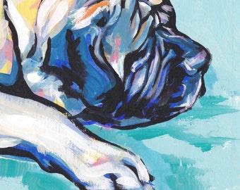 English Mastiff  portrait art print modern Dog pop dog art bright colors 8.5x11 giclee print