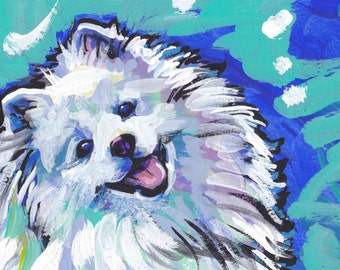 American Eskimo Dog portrait giclee print of pop art dog painting bright colors 8.5x11""