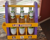 LSU Tiger Six Pack Carrier - Beer Caddy - Home Brew Carrier - Groomsman Gift - College Teams - Tailgate - Graduation Gifts