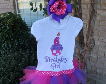 Number Cupcake Shirt with Attached Tutu and with Matching Bow
