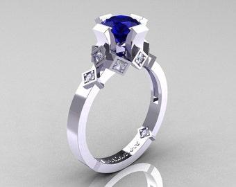 Modern Armenian Bridal 14K White Gold 1.0 Blue Sapphire Diamond Solitaire Ring R240-14KWGDBS
