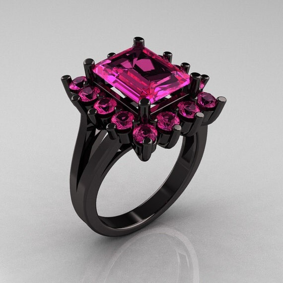 Pink And Black Engagement Rings: Items Similar To Modern Victorian 14K Black Gold 4.0 Carat
