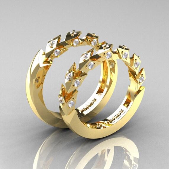 Italian Bands: Modern Italian 14K Yellow Gold Diamond Wedding Band Set