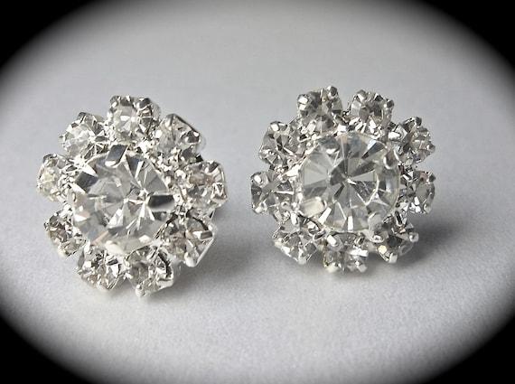 Rhinestone earrings -  small -Bridal Jewelry - Sparkling Crystal Rhinestone- studs  - Sterling silver ear posts - The Adele