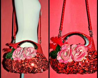 cod 415..OOAK embroidered bag  ...burlesque ,pin up style style..