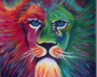 Original abstract Lion painting