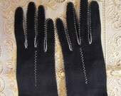 Vintage Black Matinee Kid Gloves Made in Italy