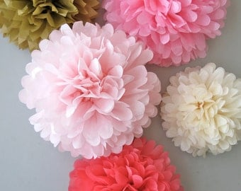 pink tissue paper pom poms I cut, fold, and hand-dye these tissue paper poms and send them to you for the fun part -- the blooming pink gray tissue paper pom, marbled pink paper pom.