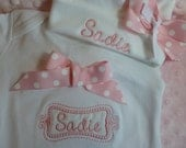 "Personalized Baby Girl one piece (tm), bodysuit  or  ruffle edge T- Shirt, ""take home outfit"" with matching personalized cap"