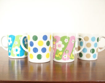 Retro Mod Mugs, Set of Four, Polka Dots and Flowers