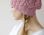 Hand knitted spring winter beret - chunky pink hat pastel
