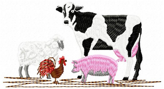 Farm animals embroidery design instant by jembroiderynapplique