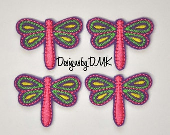 Spring Dragonfly Applique on Purple Felt Embroidered Embellishment Clippie Cover SET of 4