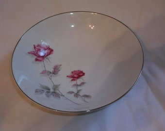 Vintage Nasco China Pink Bramble Rose Vegetable Serving Bowl Japan