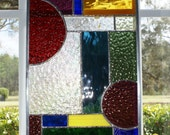 Abstract Design Stained Glass Panel - Extremely Unusual - Brilliant Colors and Textures