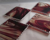 Brown/Amber and Clear Baroque Stained Glass Coaster Set - Unique Gift Idea - Bar Gift