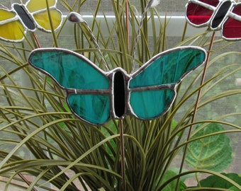 """Teal/White Wispy Translucent Glass Stained Glass Butterfly Plant/Garden Marker  4.5"""" x 3.5"""" on 12"""" Copper Rod"""