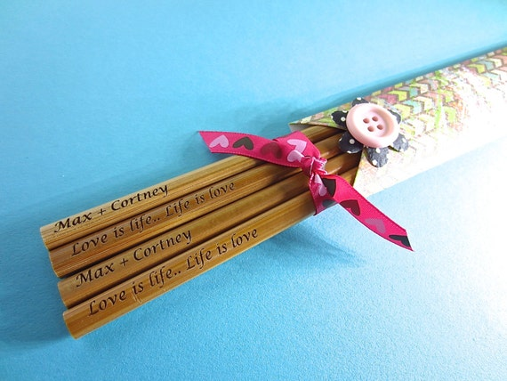 Wedding, Anniversary Gift 2 Pairs of Chopsticks Personalized with Names, Quotes, Sayings