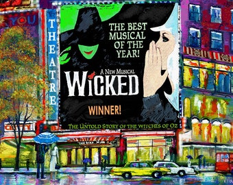 Wicked Broadway Show New York City Framed Art Print On Canvas
