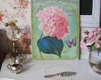 Hydrangeas Print Sign for Dollhouse