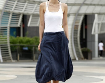 Unique Summer Skirt Causal Bud Skirt in Navy Blue  - NC402