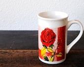 Vintage Red Rose Mug Cup, Tall Retro Ceramic Coffee by Royal Norfolk