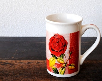 Vintage Red Rose Mug Cup, Tall Retro Ceramic Coffee by Royal Norfolk