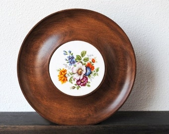 Vintage Maple Wood Tray, Turned Vermont Maple, Colorful Flower Ceramic Tile, Mid Century Serving