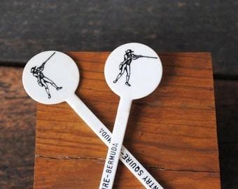 Rare Swizzle Sticks, Bermuda Somerset Country Squire Vintage Bar Cocktail Stir Stick Set