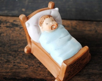 Vintage Baby Figurine, Cake Topper, Crying Cradle Blue for Boy